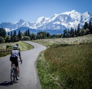 Spectacular views and quiet roads enroute to Chamonix on one of velovations supported day rides