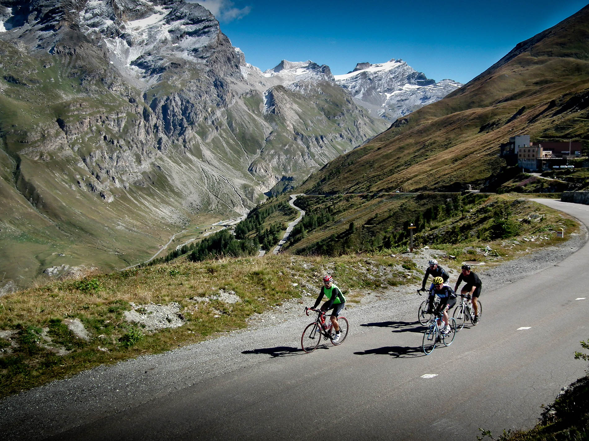 Snow capped mountains and deep valleys on one of Frances classic cols, the Col d'Iseran.