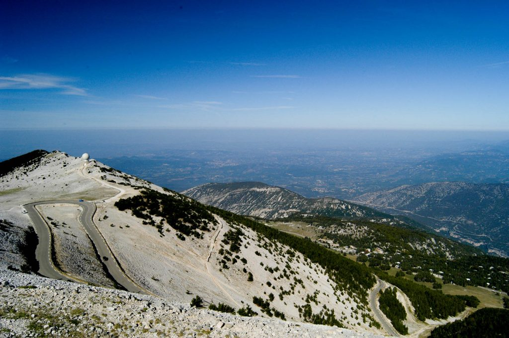 The view from the top of Mont Ventoux on the last day of Velovations Alpe d'Huez to Mont Ventoux cycling holiday in the French Alps and Provence
