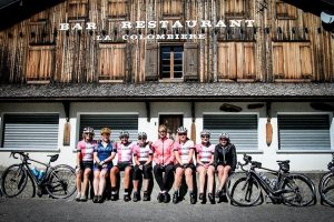 The Kent Velo Girls taking a break at the top of the Col de la Colombiere.