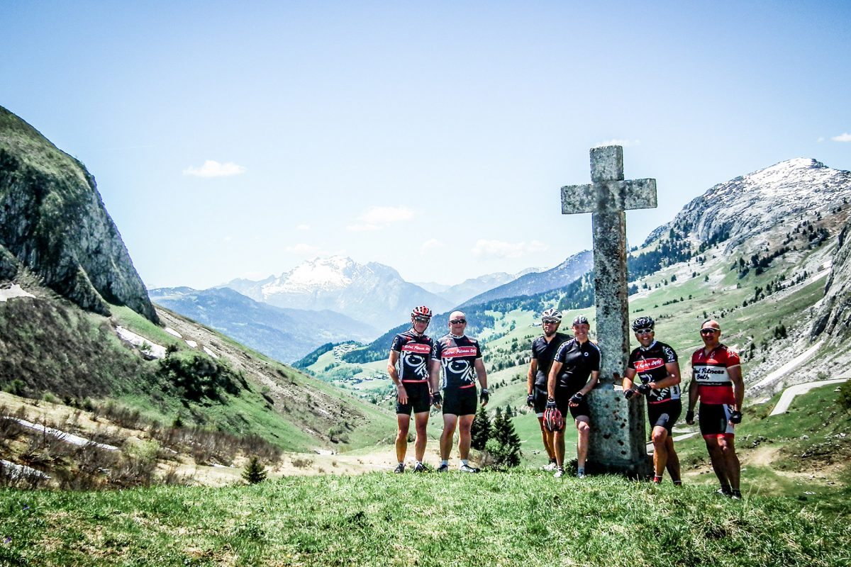 Velovation clients enjoying their Morzine road cycling holiday