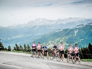 At the top of the first climb on Velovations Pear of the Alps tour