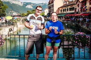 Velovation clients enjoying a well earnt ice cream after a supported day ride to Annecy