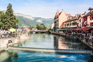 Looking up one of the canals in the the beautiful town of Annecy. A popular destination for Velovation.