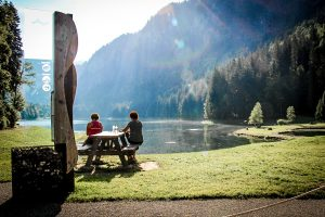 Lac Montriond,one of our favorite spots to go for a swim after a long ride.