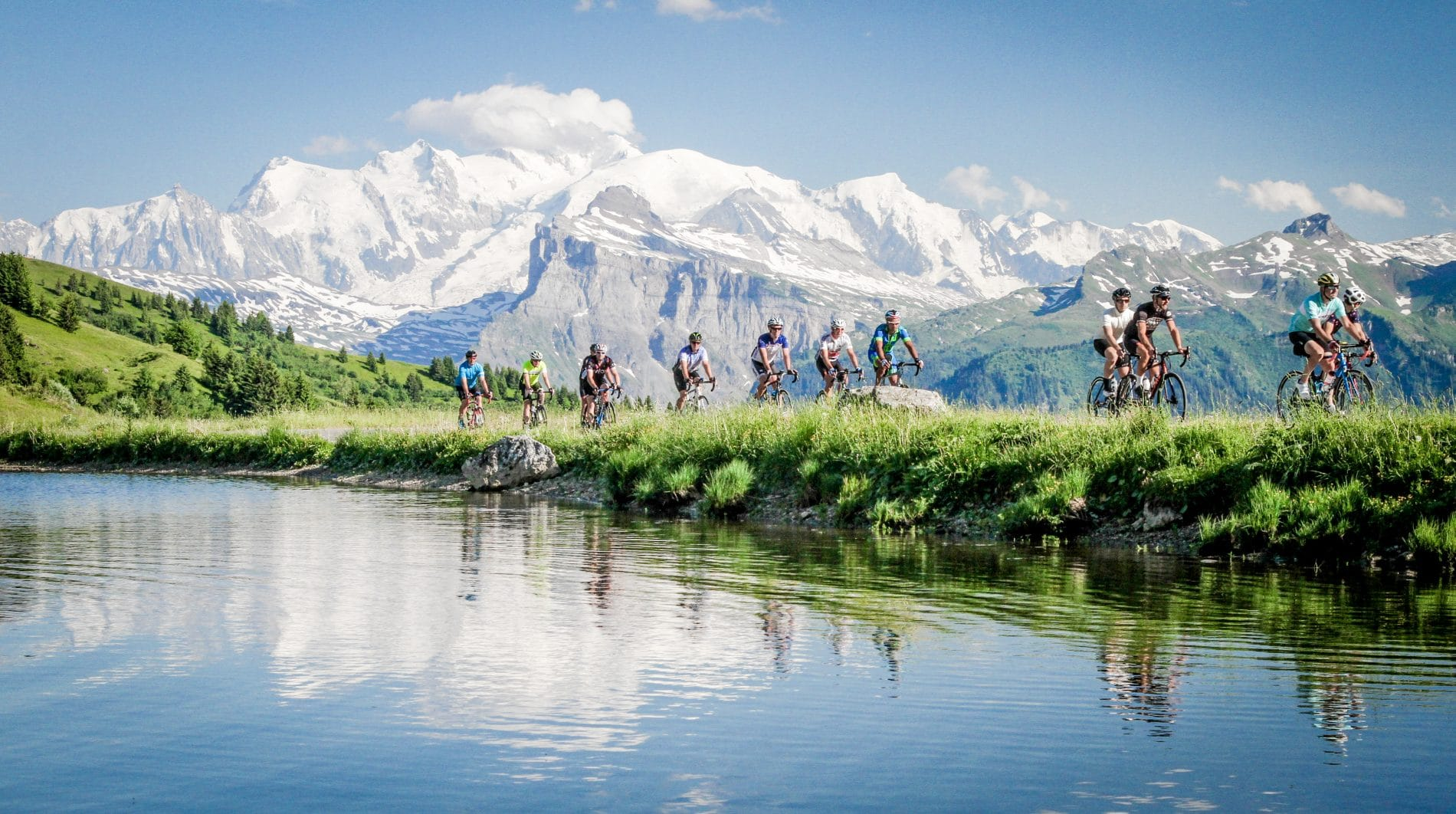 Velovation guests enjoying the stunning views of Mont Blanc from the Col de Joux Plane on their cycling holiday